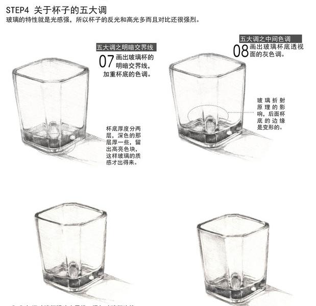 写实方形红酒杯素描绘画教程 逼真的玻璃杯子怎么画 玻璃杯怎么画有质图片