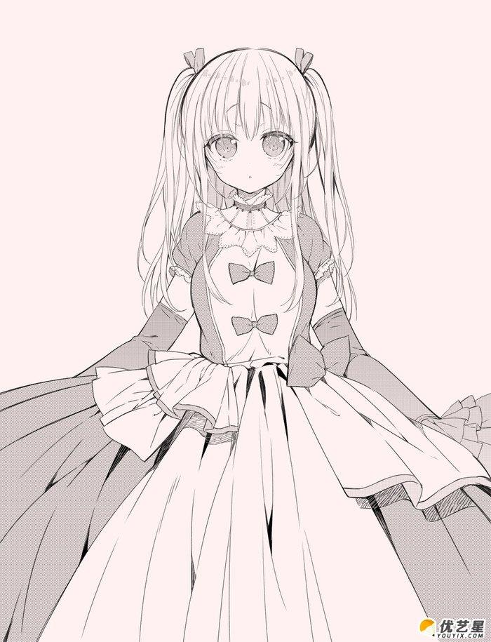 413张美少女插画手绘线稿精选集 高清日本风女生漫画黑白手稿素材大全