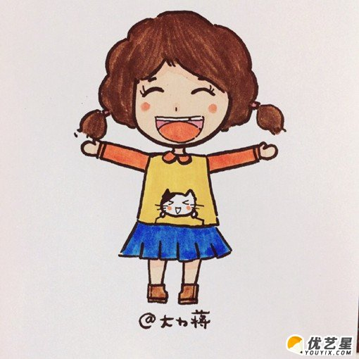 笑容的女生簡筆畫畫法 可愛小學女生卡通畫手繪教程