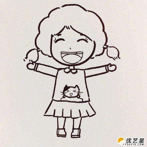 活泼开朗的小女孩怎么画 笑容的女生简笔画画法 可爱小学女生卡通画手