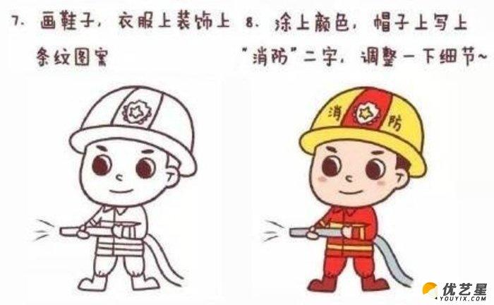 消防员怎么画 简单的消防员简笔画画法 消防员卡通画手绘教程