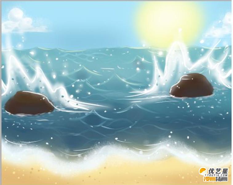 简单的ps海岸风景插画教学教程 天空与海岸交接的不同