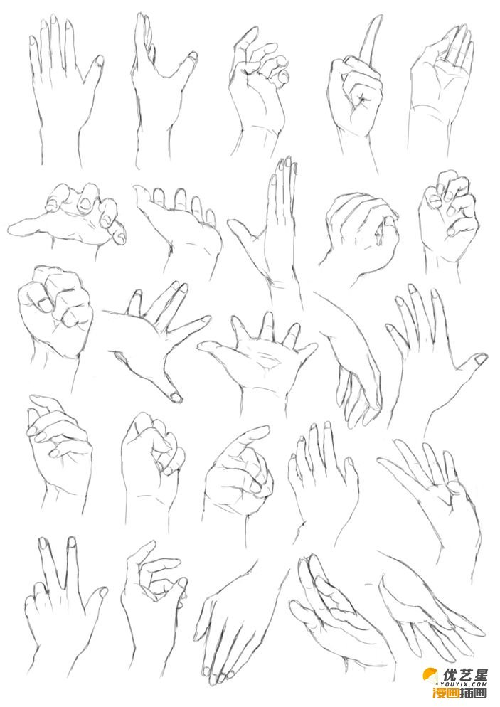 在不同角度看手部素材教程 人物的各种手部姿势绘画漫画素材教程