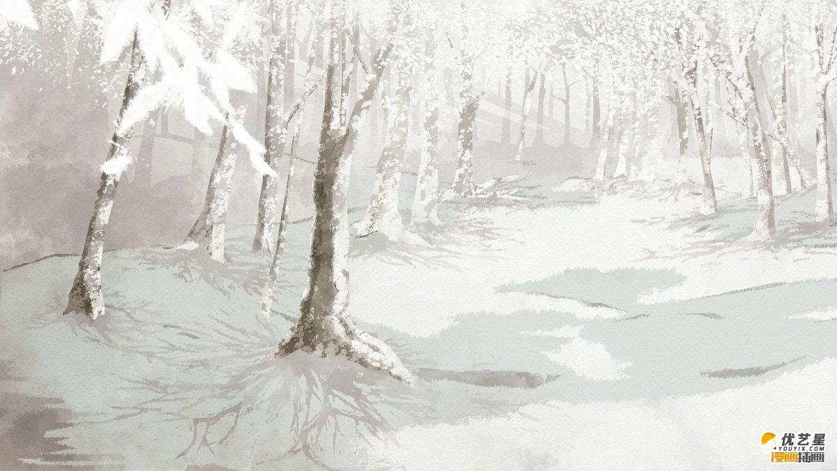 冬天的森林场景素材 各种漂亮冬日森林景象漫画素材绘画教程