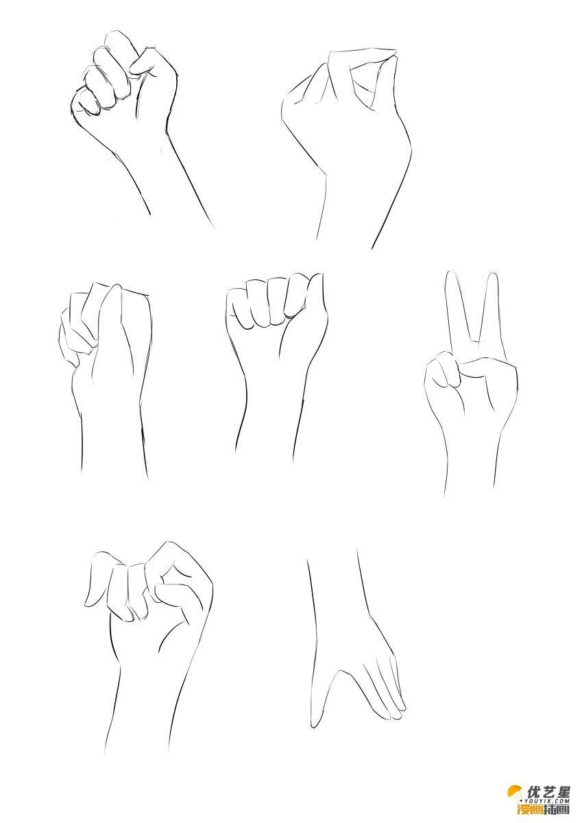 手怎么画 可爱女生手的简单画法 超简单手的漫画素材绘画步骤教程(2)