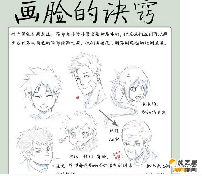 脸怎么画 漫画人物脸的简单画法诀窍 绘画人物脸的诀窍插画漫画素材教