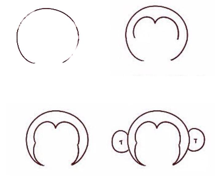 来说,小猴子还是很简单的。这里我们要学习的就是一只用手抱着金元宝的小猴子形象,简单可爱很好画。 首先我们画一个圆圈,作为猴子的脸,底部留一个空缺。然后是猴子经典的猴子脸一个桃子的形状。  猴子的脸还是比较圆的。有点像是4个圆圈的结合。然后是可爱的两个小招风耳。  然后是胸前的金元宝,画出来是挡着身体的。因为是Q版,所以身体和四肢是很小的。  来源:微博/网络  原作者:@ 图片水印