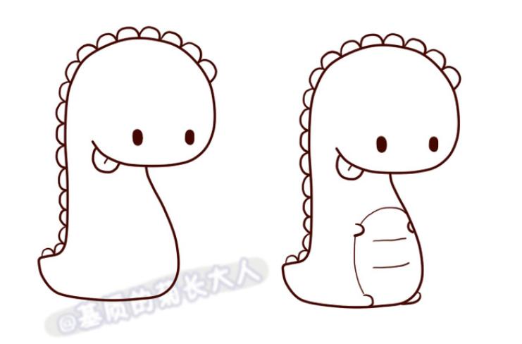 的世界里,恐龙也可以是十分的小巧可爱的。 我们今天要画的就是十分可爱的小恐龙,不仅可爱而且还很贪吃呢,小巧的恐龙还在吃棒棒糖呢。 我们闲来画恐龙的身体,像只胖胖的小蛇。这只恐龙有一个很明显的特征那就是背部有很多的小角。  画好了身体的框架之后接下来就简单了。我们继续画出恐龙的小眼睛,还有调皮的小舌头。肚皮上还有几道皱纹哦。小手手超级迷你。  这里的恐龙是两只,我们基本画好大一点的恐龙之后就可以开始画小一点的恐龙了。  虽然小一点,但是基本的结构还是差不多的。还是有背上的角。  坐着的小脚就只能看见脚底了。
