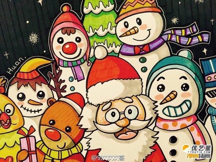 圣诞节主题儿童画作品 圣诞老人,小雪人麋鹿和小朋友开心过圣诞的儿童