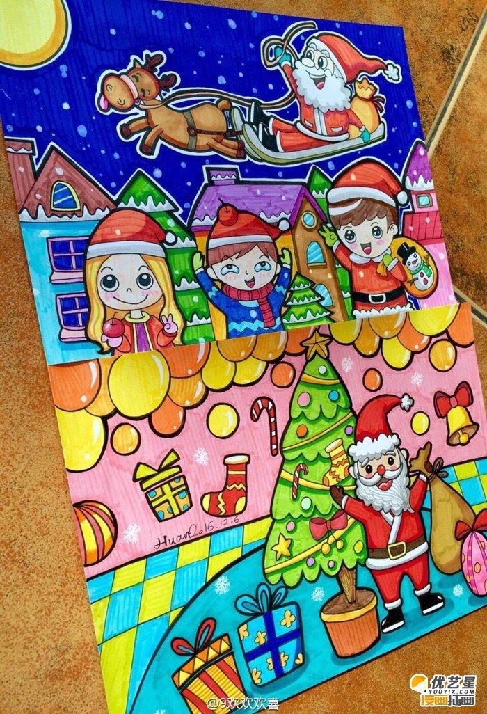 圣诞节主题儿童画作品 圣诞老人,小雪人麋鹿和小朋友开心过圣诞的儿童图片