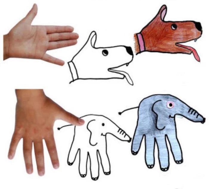 教孩子根据手掌各种变化创作简单动物卡通画简笔画 幼儿基础绘画学习