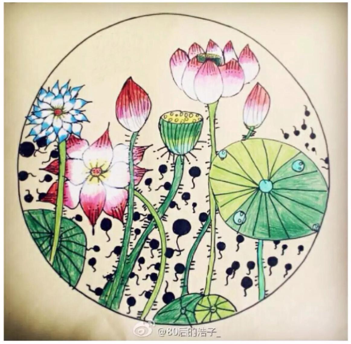 水彩荷塘月色儿童画 中式国画工笔风荷花荷叶景色儿童