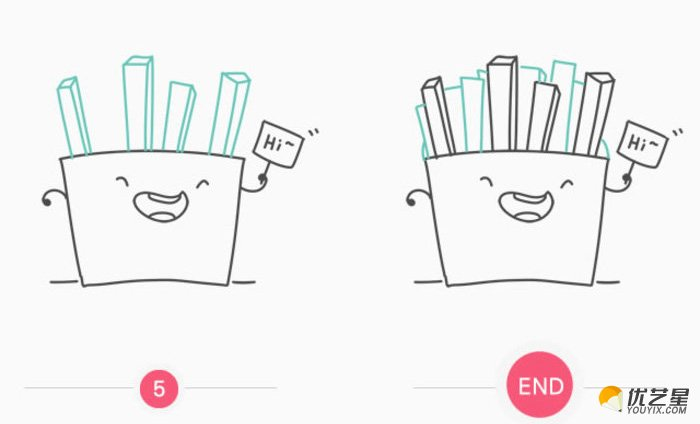画法。喜欢吃薯条的小朋友一定要用心学习哦。  接下来就和星星姐姐一起开始薯条的简笔画教程吧: 首先我们来画薯条的包装盒,一个上面的口略微大一点的四方形就可以。然后我们来给这个包装盒加一点装饰。这里我们是画一个笑脸的的表情。吃美味的薯条当然是开心的了。 我们刚刚画好了薯条的嘴部图案,有嘴当然还不够,所以接下来我们来画薯条包装上笑脸的眼睛和手手。这里是有一个拟人的笑脸。还举着一个牌子说HI,你也可以不画手手。或者直接将笑脸换成别的也可以。 接下来就画主要的部分了,也就是我们都很爱吃的薯条本身了。一个个的小长条