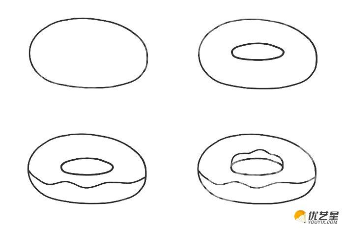 很简单,甜甜圈同样也很简单。其实说白了甜甜圈就是一个圆环一样的造型。另外还有一点奶油面粉之类的搭配。 好了,接下来就和星星姐姐一起画好吃的甜甜圈吧。首先我们画一个椭圆,两边比较长,上下比较短。然后在里面画一个小一点的圆圈形成一个圆环。圆环的大小就是我们甜甜圈的大小了。  画好圆环之后我们就画甜甜圈上的甜品了,因为是一个立体的效果,所以会有一个层级的感觉。我们需要画内圆上的造型和外圆上的造型。画好这样的主体之后,我们再在上面的奶油层上花很多小小的点心装饰。一粒粒的多彩的哦。说起多彩最后我们就要进行上色了。下