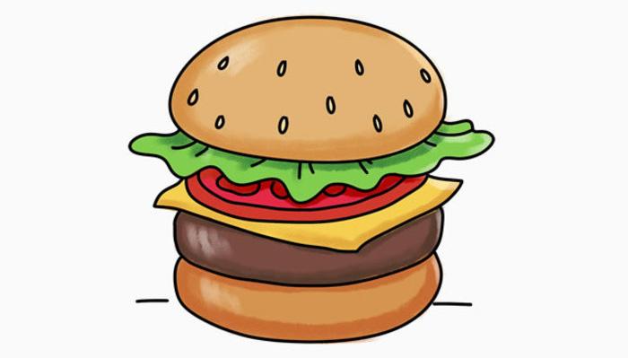 汉堡简笔画 汉堡包简笔画 汉堡包怎么画简笔画 汉堡包