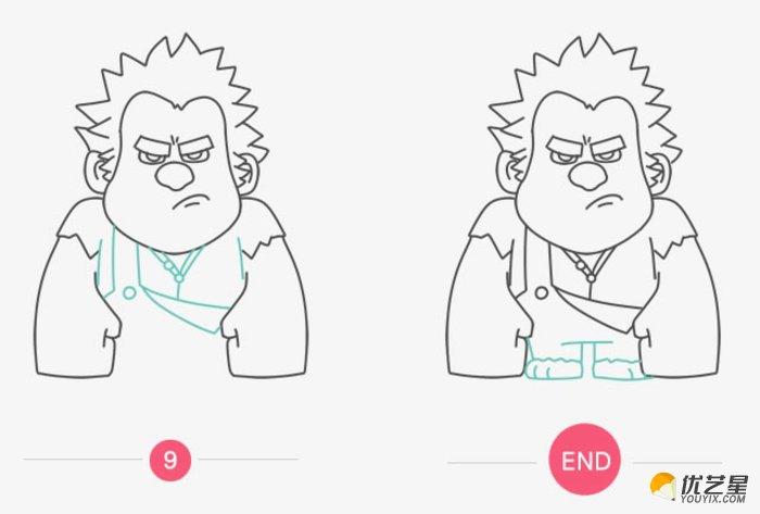 无敌破坏王 拉尔夫简笔画教程步骤 无敌破坏王人物卡通画儿童画图片