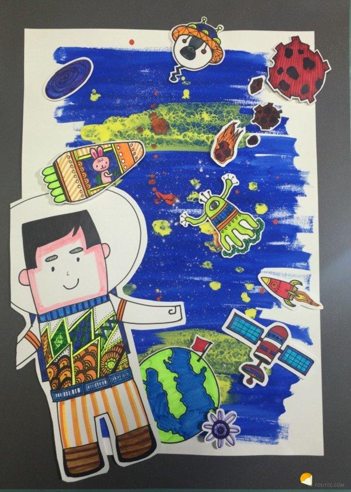 宇航员简笔画画宇航员太空拼贴画手工画