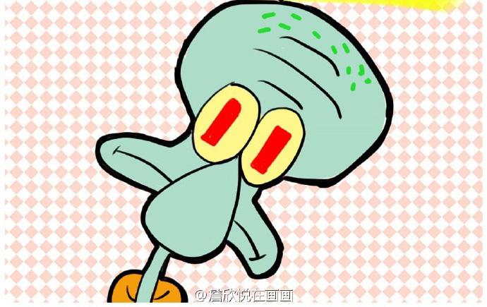 章鱼哥简笔画步骤图 章鱼哥简笔画怎么画 海绵宝宝章鱼哥儿童卡通画