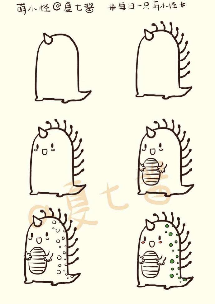 怪兽简笔画图片大全 多款小怪兽简笔画图片彩色 怪兽儿童画怎么画
