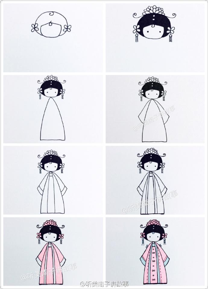 9款可爱古装美女简笔画教程 漂亮的古装衣服简笔画 q版古装美女简笔画