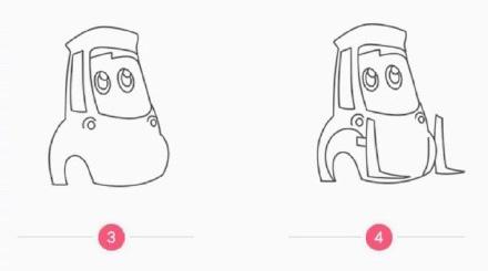 赛车总动员 奇诺简笔画教程 赛车总动员动画人物简笔画图片