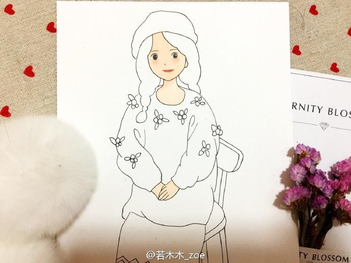 单马尾女孩简笔画