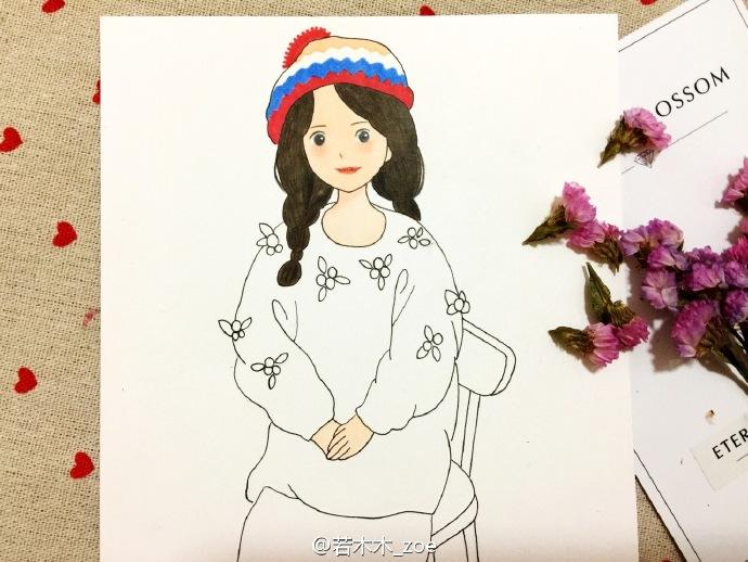 坐着的女孩简笔画 马尾辫身穿红色毛衣唯美女孩简笔画