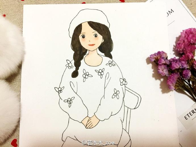 坐着的女孩简笔画 马尾辫身穿红色毛衣唯美女孩简笔画图片