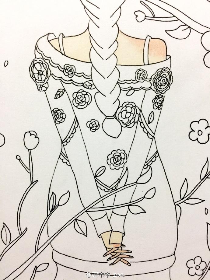 长发女孩背影简笔画教程 森系浪漫唯美女生背影毛衣水彩画教程