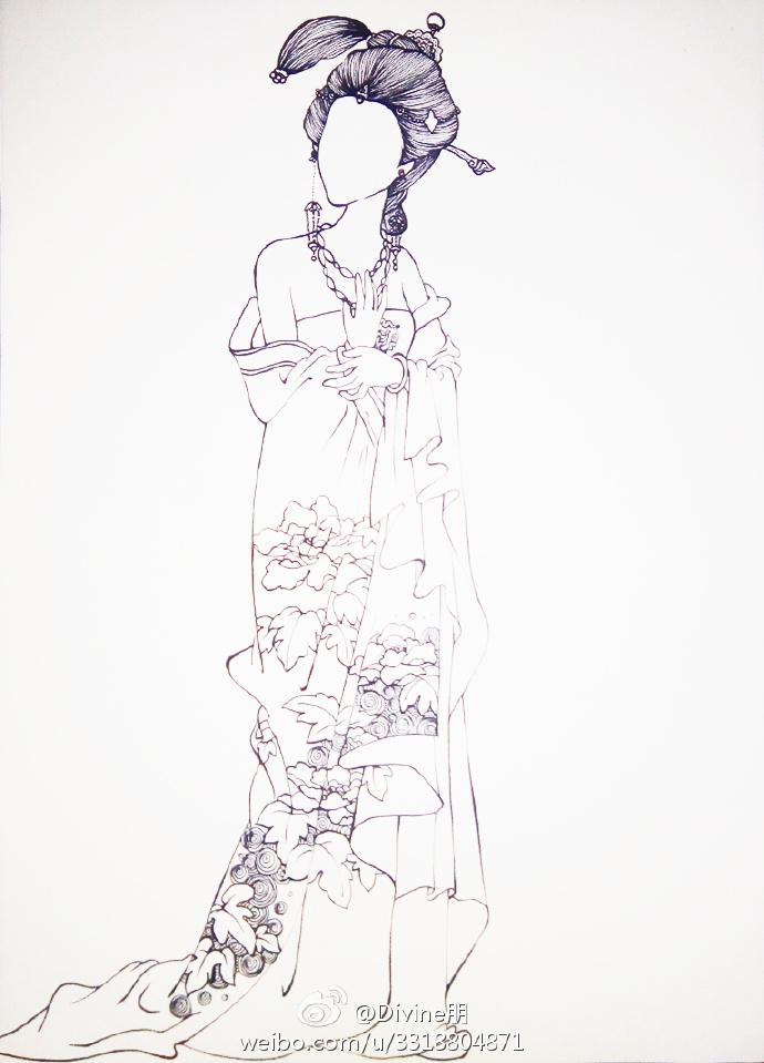 古代美女简笔画 简笔画人物古代公主 仕女水彩人物上色教程图片