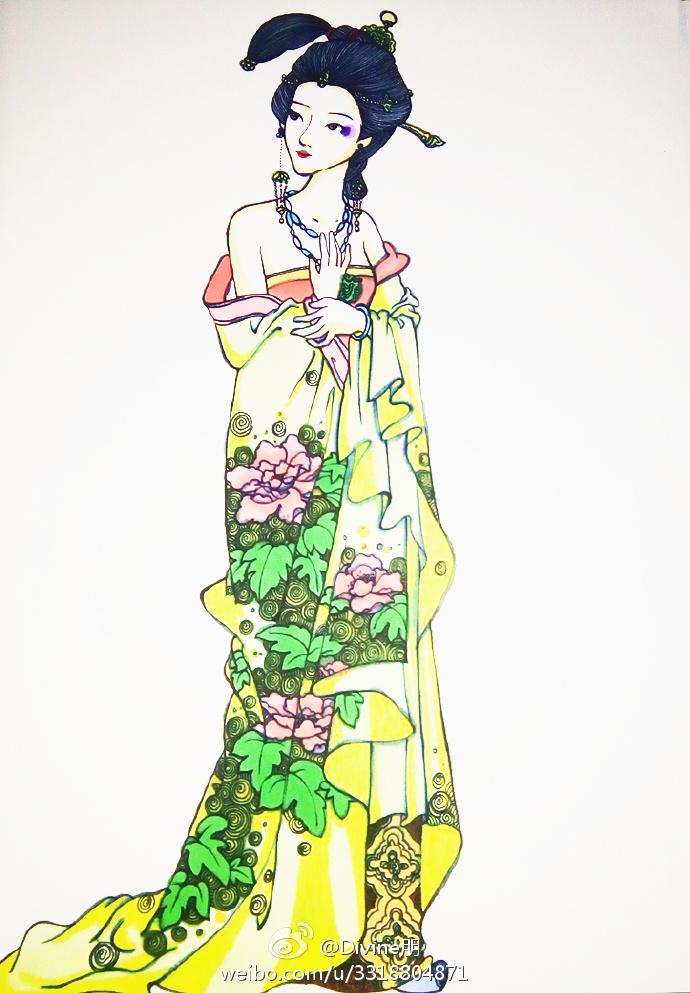 古代美女的头发都是很长的,拿发簪盘起来的,所以在画头发的时候需要
