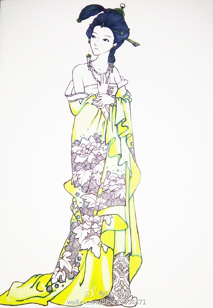 古代美女簡筆畫 簡筆畫人物古代公主 仕女水彩人物上色教程圖片