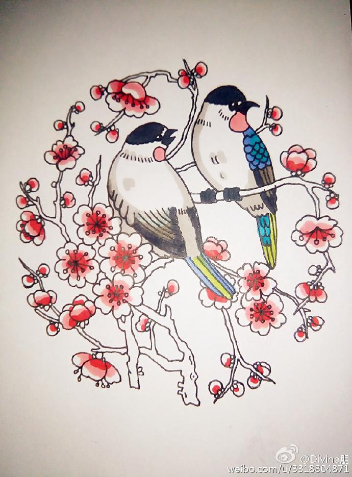 一些小细节。  然后,鸟都画好之后就到了梅花的绘画了,就直接在小鸟站的树枝上的两边画上一些梅花就好了,梅花画的多少就看自己喜欢了。最后,我们就到了上色了,给喜鹊的翅膀羽毛上蓝色,然后梅花就涂上粉粉的粉色就好了。把颜色都上好之后就完成了,一副唯美漂亮的喜鹊登梅的画就画好了。  来源:微博/网络  原作者:@ 图片水印