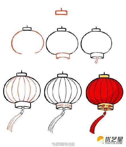 灯笼简笔画图片 灯笼简笔画教程 灯笼怎么画 灯笼的儿童画画法