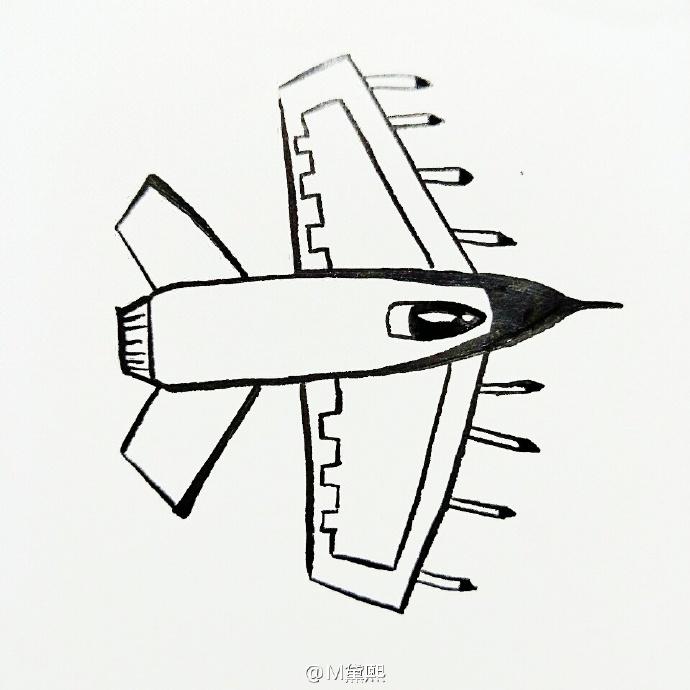 战斗机简笔画教程图片 战斗机飞机的简笔画画法 简单战斗机怎么画