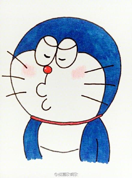 六只不同表情的蓝胖子简笔画图片 机器猫简笔画图片素材