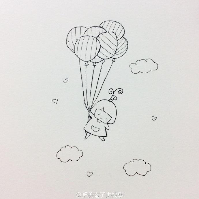 小女孩抓着气球飞翔的简笔画教程 可爱唯美的小女孩和