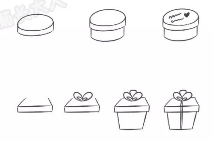 ,这种礼物盒子的绘画还是比较简单的,特别是今天的还没有多少繁琐的线条,也没有什么团,所以我们绘画起来的难度并不大。 今天的礼物盒子的绘画主要是分四步,我们的绘画图示都有着比较详细的绘画步骤,大家按图索骥就可以了的。我们今天介绍的礼物盒子的绘画的品种还是比较全面的,有着四方的,圆形的,心形的还有圆柱形的。常见一点的礼物的装饰盒在今天我们都有介绍到了。每一种的绘画方法都不一样,但是每一种我们都有着比较详细的绘画图解。就比如心形礼物盒子的绘画,我们需要绘画这个盒子的话,就是先画几个弧线,然后再在弧线的绘画上使它