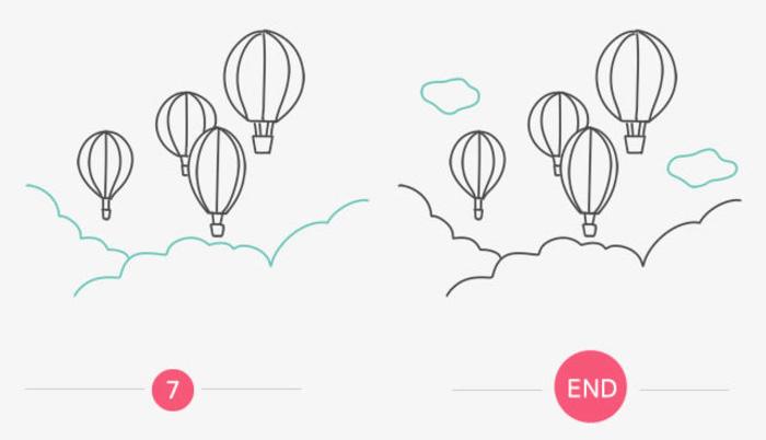 热气球简笔画教程图片 热气球的画法 热气球怎么画 热