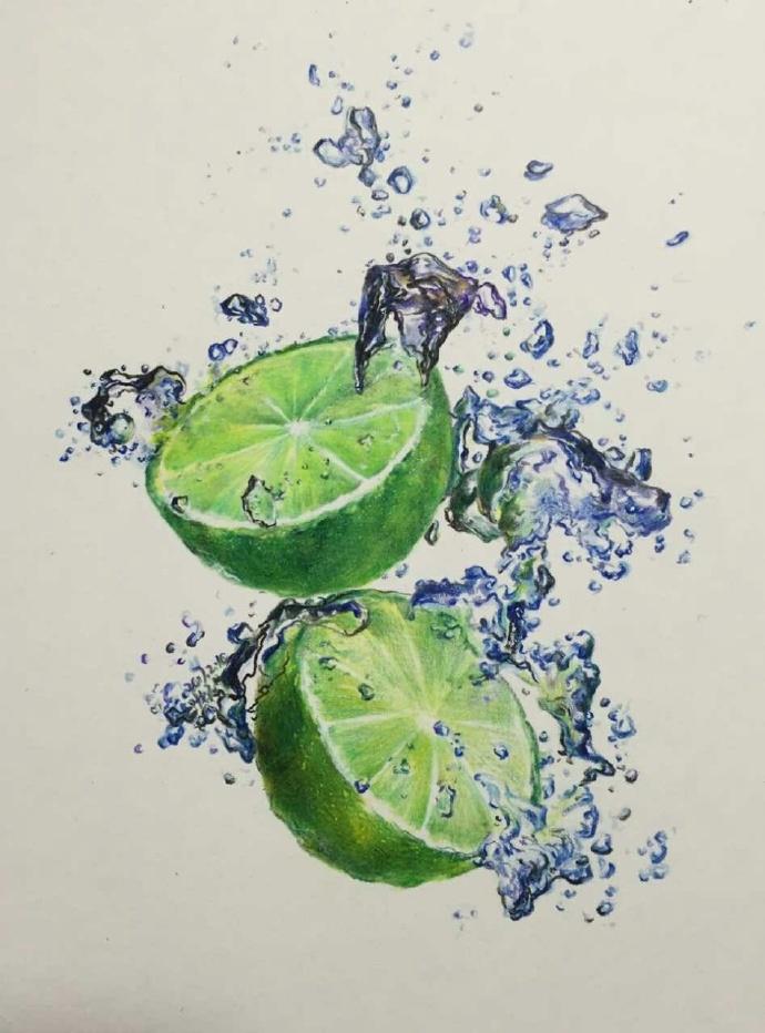 超震撼彩铅写实绿柠檬手绘教程过程图片作品 带水花的