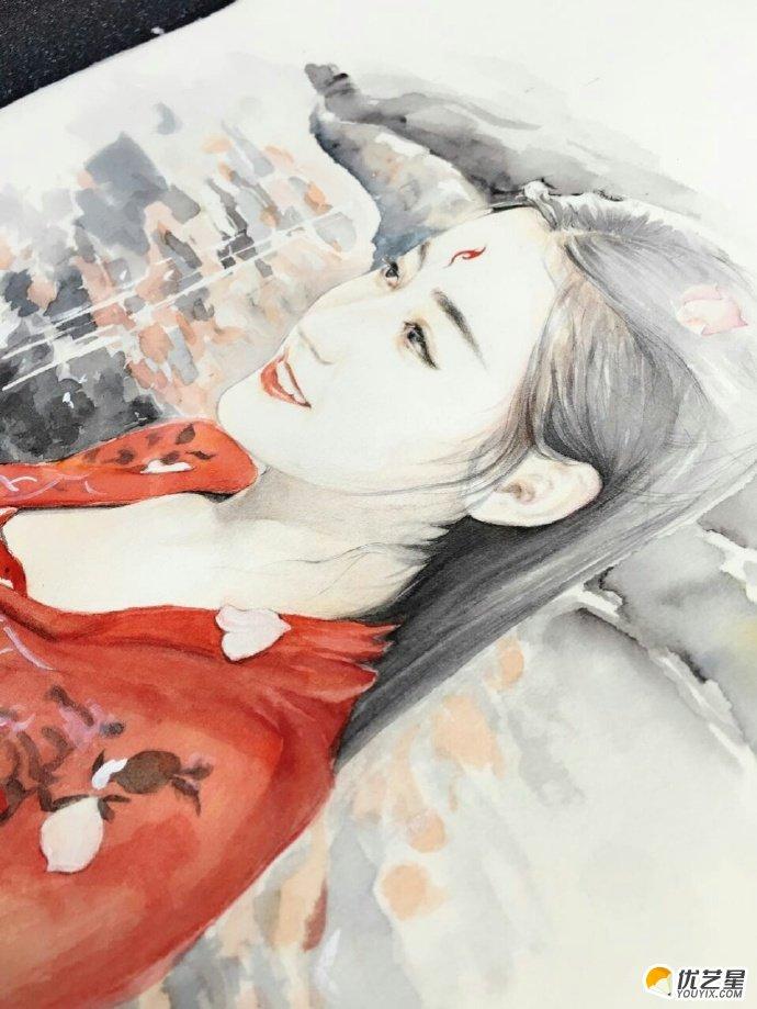 九尾红狐白凤九超写实水彩手绘教程图片 上色过程展示